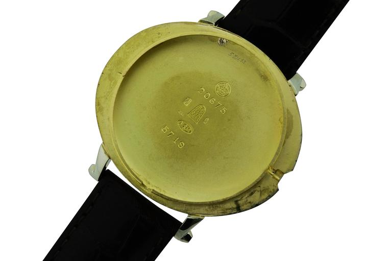 Men's Movado White and Rose Gold Oversized Watch with Kiln Fired Enamel Numbers  For Sale