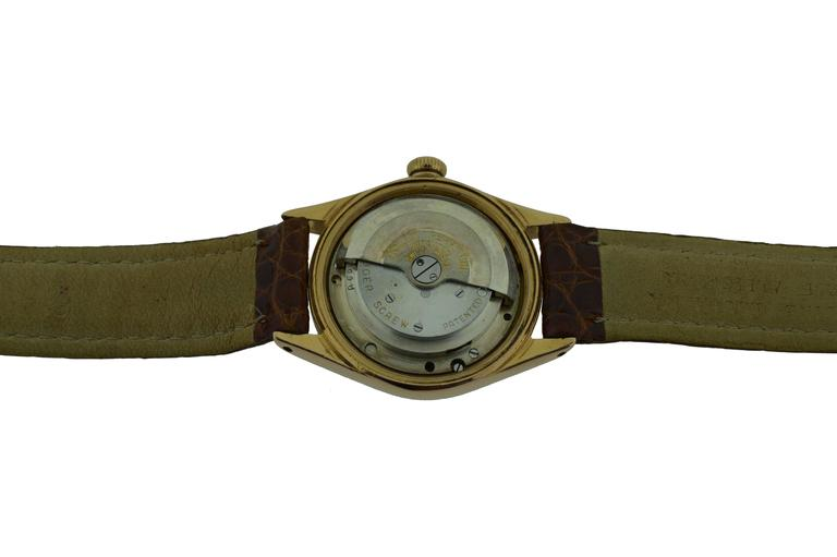 Women's or Men's Rolex Rose Gold Bubble Back 3/4 Size Watch with Original Patinated Dial  For Sale