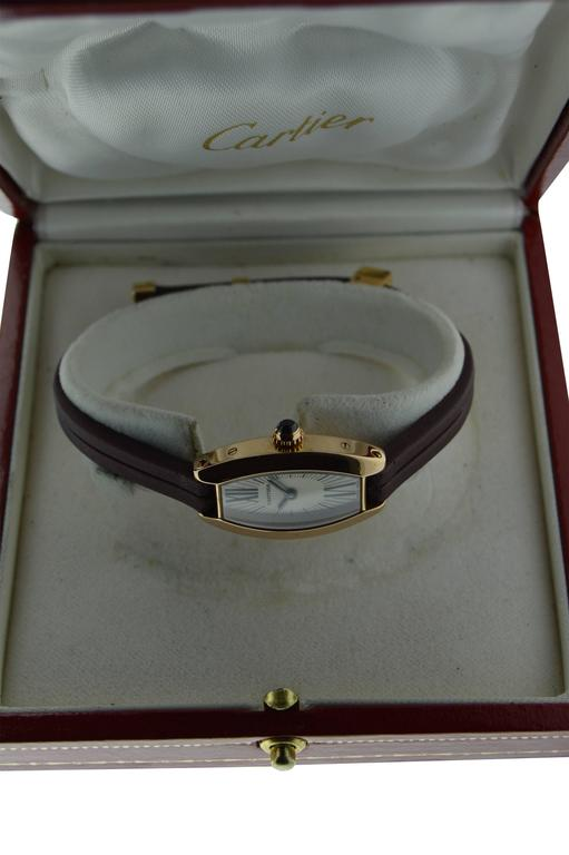 Contemporary Cartier Ladies Yellow Gold Quartz Watch For Sale