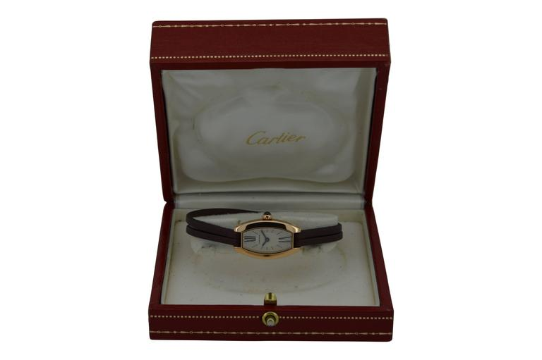 FACTORY / HOUSE: Cartier STYLE / REFERENCE: Lanieres MOVEMENT / CALIBER: Quartz DIAL / HANDS: Oval, Roman Numbers DIMENSIONS: 28mm X 16mm ATTACHMENT / LENGTH:  Original  7mm / Full Length  WARRANTY: 18 months on the movement.  LIFETIME SERVICE