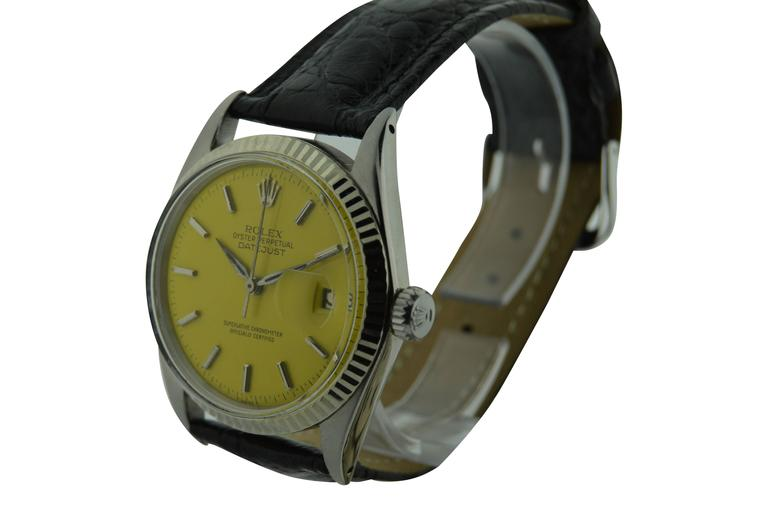FACTORY / HOUSE: Rolex Watch Company STYLE / REFERENCE: Datejust / Ref 1601 MOVEMENT / CALIBER: Automatic Oyster Perpetual 26 jewels 1560 DIAL / HANDS: Replacement Dial and original Dauphine Hands CIRCA / DATE Mid 1960's DIMENSIONS: 43mm X