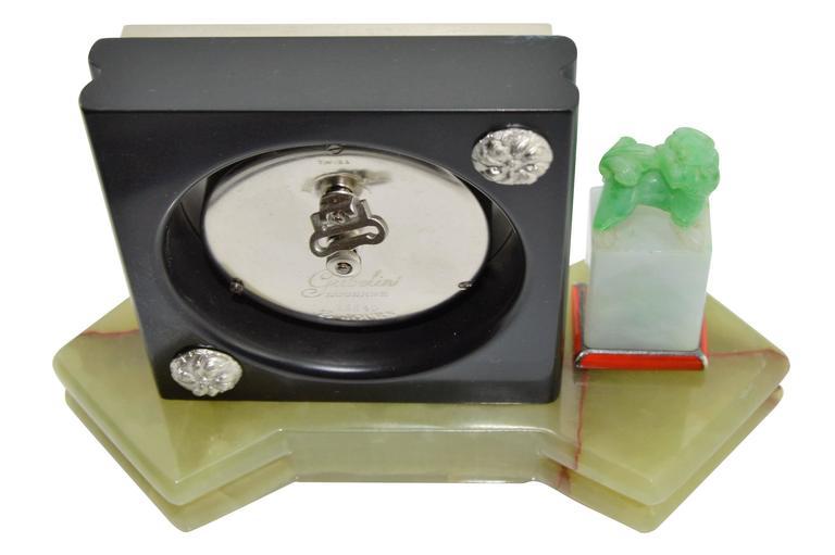Women's or Men's 1930s E. Gubelin Art Deco Desk Clock in the Asian Chinese Style For Sale