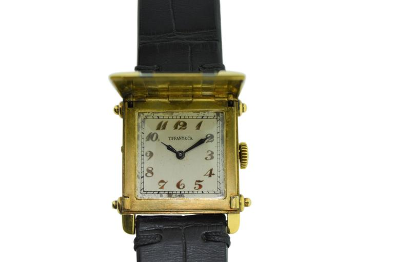 FACTORY / HOUSE: Tiffany & Co. by Cress Arrow STYLE / REFERENCE: Art Deco / Covered Dial CIRCA: 1930's MOVEMENT / CALIBER: 15 Jewels / 10 Ligne DIAL / HANDS: Original Dial Applied Breguet Numerals / Original Blued Steel Hands DIMENSIONS:   35mm X
