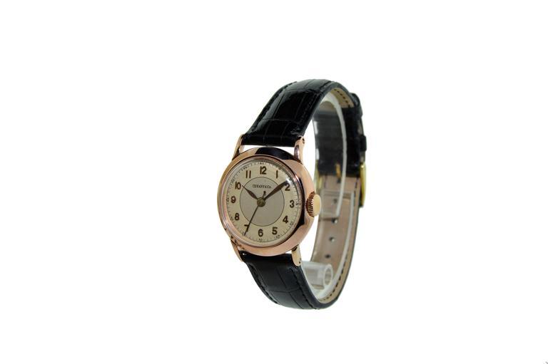 Tiffany & Co. I. W. C. Watch Company Rose Gold Manual Wind Wristwatch 2