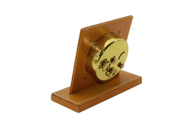 Shreve & Co. Small Leather Bedside Alarm Clock, 1930s In Excellent Condition For Sale In Long Beach, CA