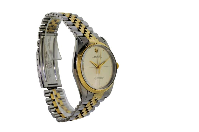 Rolex Two Tone Yellow Gold Stainless Steel Zephyr 1008 with Original Papers In Excellent Condition For Sale In Long Beach, CA