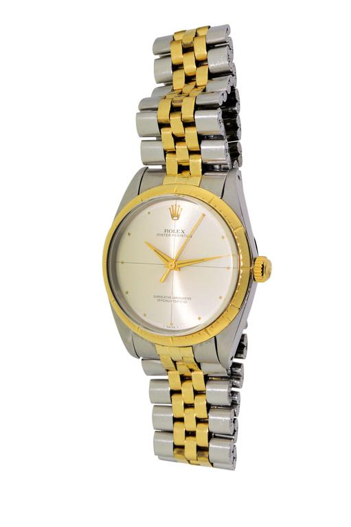Rolex Two Tone Yellow Gold Stainless Steel Zephyr 1008 with Original Papers For Sale 2