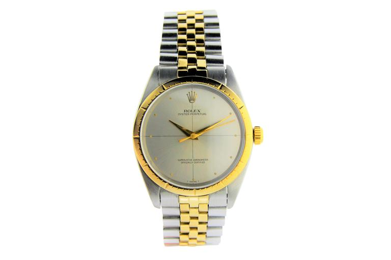 Rolex Two Tone Yellow Gold Stainless Steel Zephyr 1008 with Original Papers For Sale 3