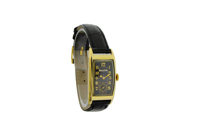 Bulova Yellow Gold Art Deco Style Manual Wind Watch  In Excellent Condition For Sale In Venice, CA