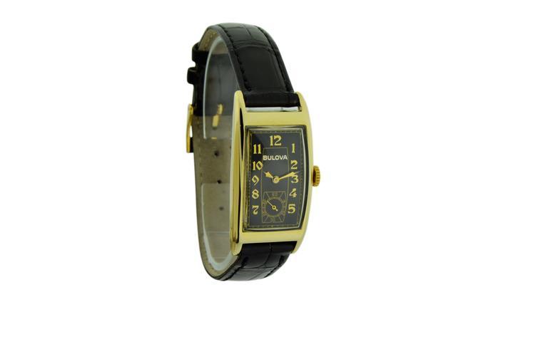 Women's or Men's Bulova Yellow Gold Art Deco Style Manual Wind Watch  For Sale