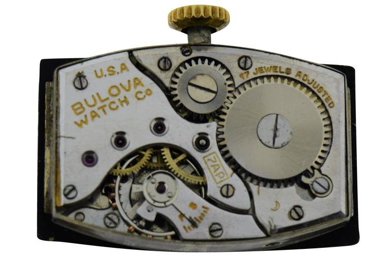 Bulova Yellow Gold Art Deco Style Manual Wind Watch  For Sale 2