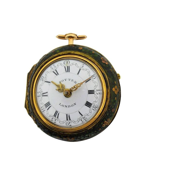 FACTORY / HOUSE: Harry Potter STYLE / REFERENCE: Triple Cased Repousse Pocket Watch METAL / MATERIAL: 18Kt. Yellow Gold & Chagreen DIMENSIONS:  2 1/8 in. (5.4 cm) Diameter CIRCA: 1791 MOVEMENT / CALIBER: Verge Fuzee DIAL / HANDS: Original Enamel