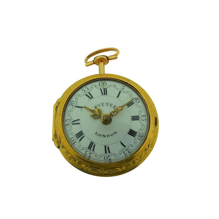 Women's or Men's Harry Potter's Watch London 1791 Gold Repousse Verge Fusee For Sale