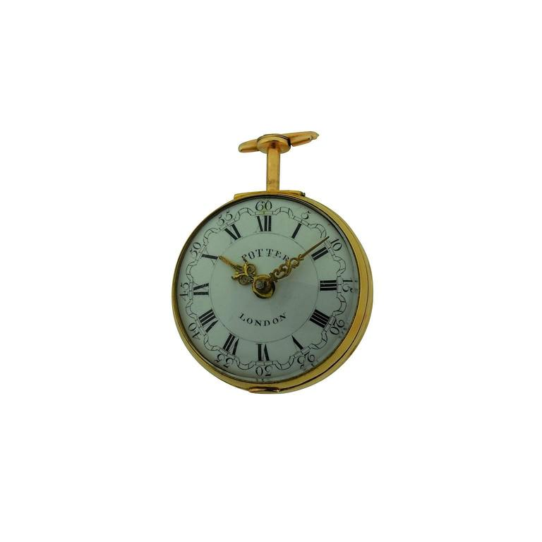 Harry Potter's Watch London 1791 Gold Repousse Verge Fusee In Good Condition For Sale In Venice, CA
