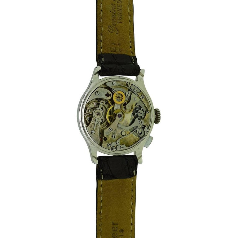 J.E. Caldwell Nickel Finished Doctor's Chronograph Manual Wristwatch For Sale 6