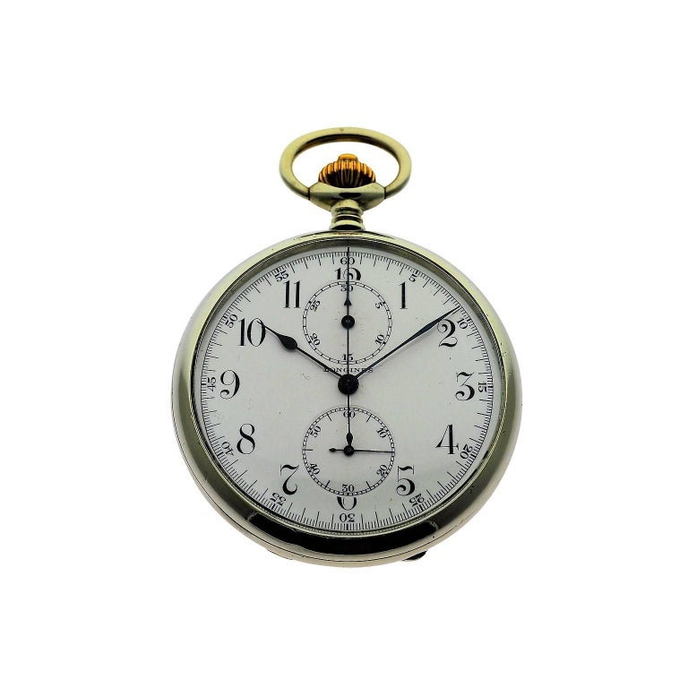 Longines Nickel Silver Enamel Dial Chronograph Pocket Watch