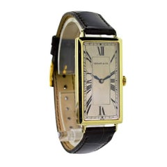 Tiffany & Co. Yellow Gold Super Sized Rectangle Art Deco Manual Wristwatch