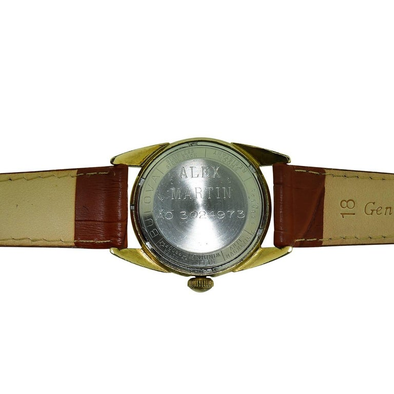 Women's or Men's Bulova Yellow Gold Filled Art Deco Automatic Winding Watch, circa 1950s For Sale