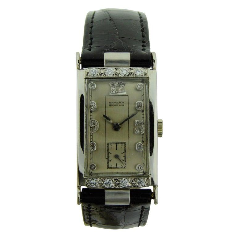 Hamilton Platinum Diamond Bezel Watch