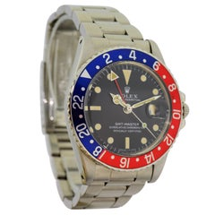 Rolex Stainless Steel GMT Master Pepsi Bezel Watch