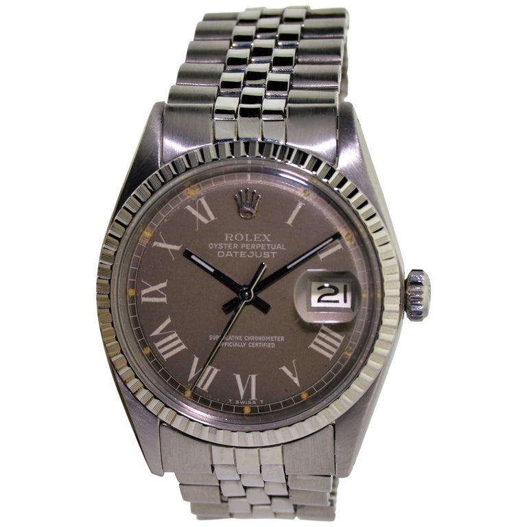Rolex Steel Rare Charcoal Roman Dial Watch circa 1974 For Sale