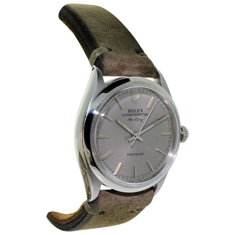 Rolex Steel Air King Charcoal Dial Circa 1969   For Sale
