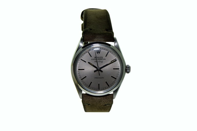 Rolex Steel Air King Charcoal Dial Circa 1969   In Excellent Condition For Sale In Venice, CA