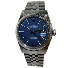 Rolex Stainless Steel Blue Dial Datejust Watch, 1970's