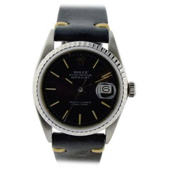 Rolex Steel Datejust Rare Black Dial Automatic Watch