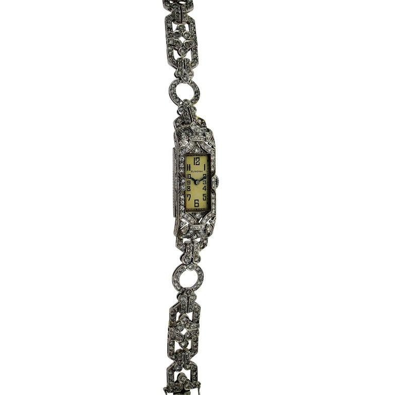 Blancpain Ladies Platinum Diamond Bracelet Dress Wristwatch, circa 1940s