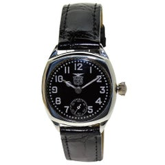 Elgin Sterling Silver Enamel Cushion Shaped Military Style Wristwatch, c1925