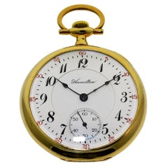Hamilton Yellow Gold Filled Enamel Dial Open Faced Pocket Watch, circa 1916
