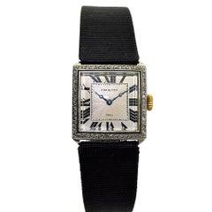 Charlton & Co. Paris Ladies Platinum Gold Diamond Manual Dress Wristwatch, 1920s