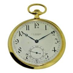 J.W. Benson 18 Karat Gold Open Face Pocket Watch by LeCoultre, circa 1920s