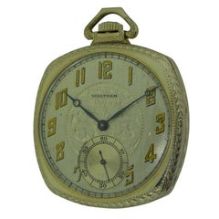 Elgin 14 Karat White Gold Art Deco Cushion Shaped Pocket Watch