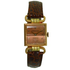 Longines 14 Karat Two-Tone Gold Art Deco Articulated Lug Wristwatch
