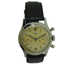 Breitling Steel Round Button Chronograph with Original Dial, circa 1950s
