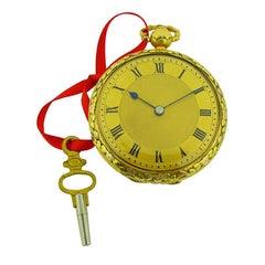 Jackman & Son 18 Karat Multi-Color Gold Keywind Pocket Watch Chain Driven