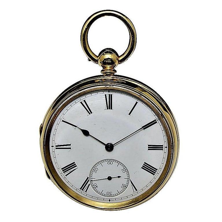 Rob Crook 18 Karat Yellow Gold Open Faced Keywind Pocket Watch, circa 1845