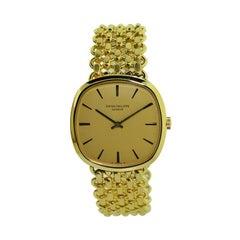 Patek Philippe 18 Karat Gold Handmade Watch with Original Gold Link Bracelet