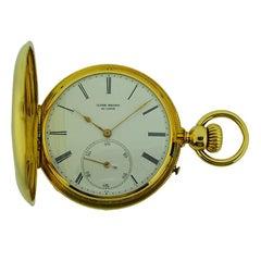 Ulysse Breting Yellow Gold Chronometer Half Hunter Full Size Pocket watch, c1890