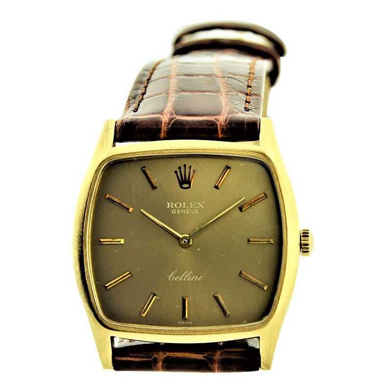 Rolex 18 Karat Gold Cellini Cushion Shaped Watch, circa 1980s