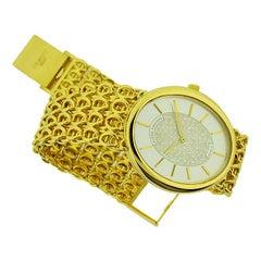 Patek Philippe 18 Karat Gold Men's Bracelet Watch with Gold Dial, circa 1990s