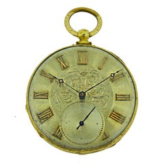Tobias 18Kt Gold Key Wind Pocket Watch with Engraved Case and Dial, circa 1850s