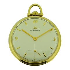Movado 14 Karat Yellow Gold Art Deco Open Face Pocket Watch, circa 1950s