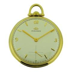 Movado 14 Karat Yellow Gold Art Deco Open Face Pocket Watch, circa 1950s
