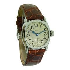 Elgin White Gold Filled Art Deco Wristwatch From 1926 with Original Strap