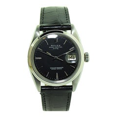 Rolex Stainless Steel Oyster Perpetual Date with Rare Black Dial, 1967 or 1968
