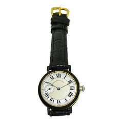 Black Starr & Frost 18 Karat Gold and Matted Black Enamel Ladies Art Deco Watch