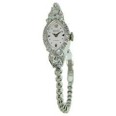 Gruen 14 Karat White Gold Ladies Art Deco Watch with Original Bracelet